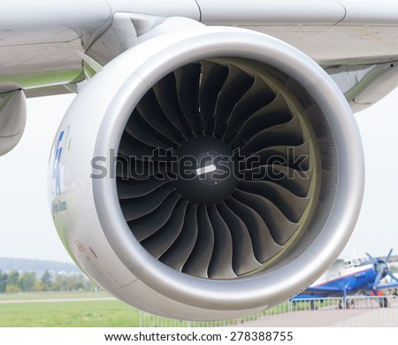 MOSCOW, RUSSIA - AUGUST 29, 2013: GP7200 jet engines mounted on the Airbus A-380 and have a takeoff thrust 74,735 lbf - stock photo