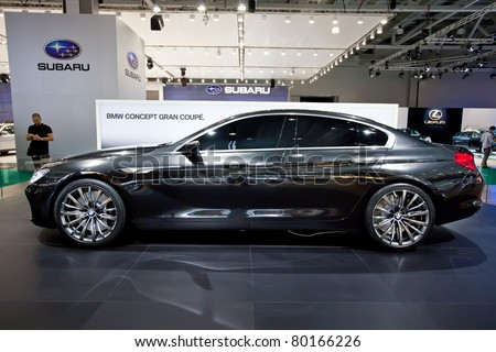 MOSCOW, RUSSIA - AUGUST 25: Grey BMW Gran Coupe on display at Moscow International exhibition InterAuto on August 25, 2010 in Moscow, Russia.