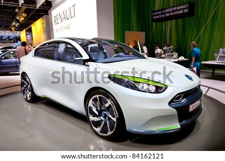 MOSCOW, RUSSIA - AUGUST 25:  Grey car Renault Fluence at Moscow International exhibition InterAuto on August 25, 2010 in Moscow, Russia. - stock photo