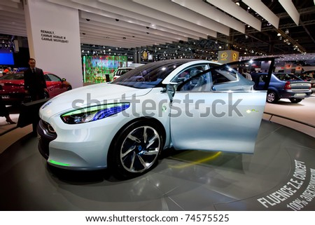 MOSCOW, RUSSIA - AUGUST 25:  Grey car Renault Fluence on display at the Moscow International exhibition InterAuto on August 25, 2010 in Moscow, Russia. - stock photo