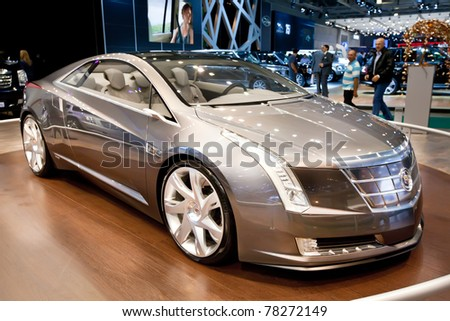 MOSCOW, RUSSIA - AUGUST 25:  Grey concept car Cadillac Converj on display at Moscow International exhibition InterAuto on August 25, 2010 in Moscow, Russia. - stock photo
