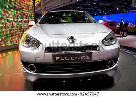 MOSCOW, RUSSIA - AUGUST 25:  Grey Renault Fluence on display at Moscow International exhibition InterAuto on August 25, 2010 in Moscow, Russia. - stock photo