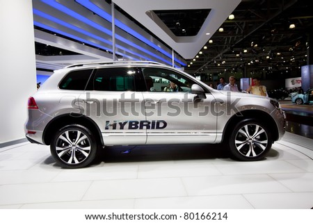 MOSCOW, RUSSIA - AUGUST 25:  Grey Volkswagen Touareg on display at Moscow International exhibition InterAuto on August 25, 2010 in Moscow, Russia.