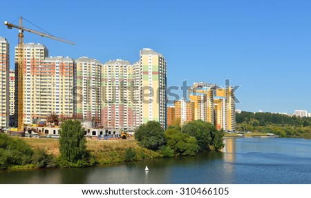 MOSCOW, RUSSIA - AUGUST 28, 2015:Krasnogorsk is city and center of Krasnogorsky District in Moscow Oblast located on Moskva River. Area of residential development is about 2 million square feet
