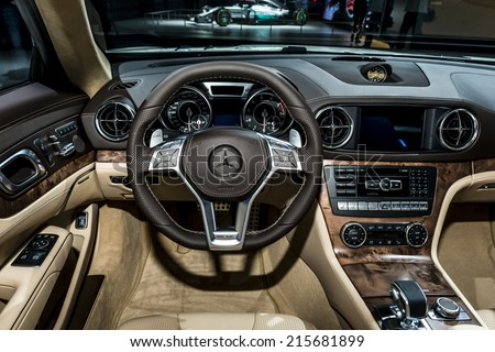 MOSCOW, RUSSIA - August 26:Mercedes cars presentation at MIAS 2014 in Moscow, 26 August 2014 - stock photo
