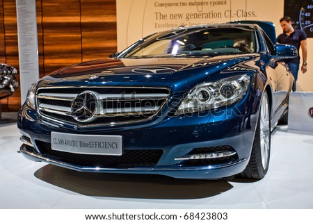 MOSCOW, RUSSIA - AUGUST 26: Mercedes CL 500 4Matic Blue EFFICIENCY at Moscow international motor show 2010 on August 26, 2010 in Moscow, Russia.