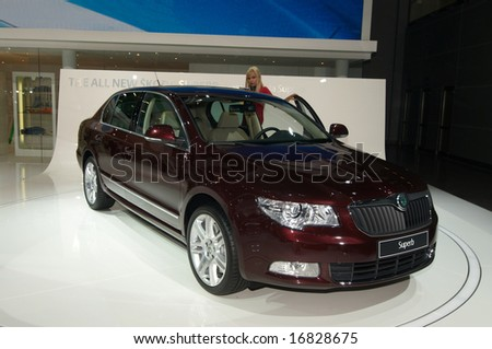 MOSCOW, RUSSIA - AUGUST 2008. Moscow International Automobile Salon' 2008. Skoda SuperB V6 - world premiere