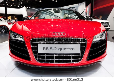 MOSCOW, RUSSIA - AUGUST 25: Red Audi R8 on display at Moscow International exhibition InterAuto on August 25, 2010 in Moscow, Russia.