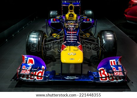 MOSCOW, RUSSIA - August 26: Red Bull Formula 1 car at MIAS 2014 in Moscow, 26 August 2014 - stock photo