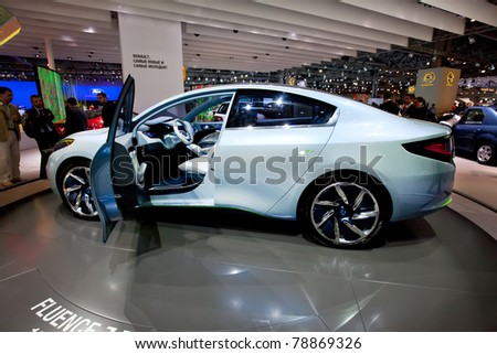 MOSCOW, RUSSIA - AUGUST 25: Renault Fluence on display at Moscow International exhibition InterAuto on August 25, 2010 in Moscow, Russia. - stock photo