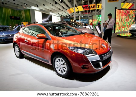 MOSCOW, RUSSIA - AUGUST 25: Renault Megane on display at Moscow International exhibition InterAuto on August 25, 2010 in Moscow, Russia. - stock photo