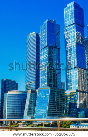 Moscow, Russia. August 22, 2015. Skyscrapers of Moscow City  : The Moscow International Business Center in Moscow
