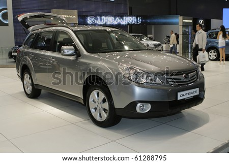 MOSCOW, RUSSIA - AUGUST 27: Subaru Outback presented at the Moscow International Autosalon on August 27, 2010 in Moscow.