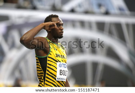 MOSCOW, RUSSIA - AUGUST 10: Usain Bolt prepares to stert at the World Athletics Championships on August 10, 2013 in Moscow - stock photo