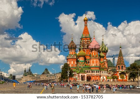 MOSCOW, RUSSIA - AUGUST 17: View to the Saint Basil Cathedral on the Red Square on August 17, 2013 in Moscow, Russia. Official name Cathedral of the Protection of Most Holy Theotokos on the Moat. - stock photo