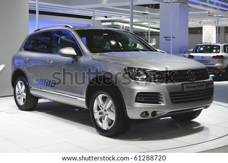 MOSCOW, RUSSIA - AUGUST 27: Volkswagen Touareg Hybrid presented at the Moscow International Autosalon on August 27, 2010 in Moscow.