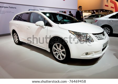 MOSCOW, RUSSIA - AUGUST 25:  White car Toyota Avensis on display at Moscow International exhibition InterAuto on August 25, 2010 in Moscow, Russia.