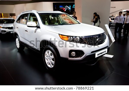 MOSCOW, RUSSIA - AUGUST 25:  White jeep car Kia Sorento on display at Moscow International exhibition InterAuto on August 25, 2010 in Moscow, Russia.