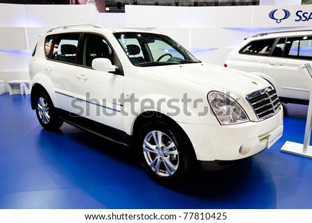 MOSCOW, RUSSIA - AUGUST 25:  White jeep car Ssangyong  Rexton on display at Moscow International exhibition InterAuto on August 25, 2010 in Moscow, Russia.