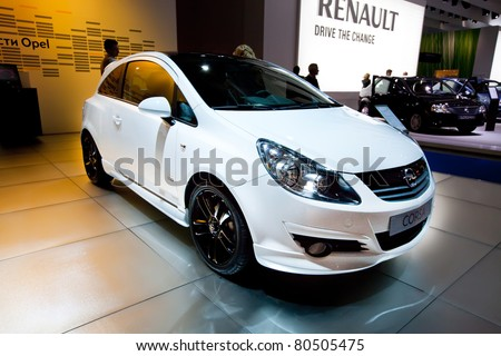 MOSCOW, RUSSIA - AUGUST 25:  White Opel Corsa on display at Moscow International exhibition InterAuto on August 25, 2010 in Moscow, Russia.
