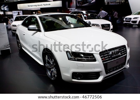 MOSCOW, RUSSIA - AUGUST 27: White sport car Audi at Moscow International exhibition InterAuto on August 27, 2008 in Moscow, Russia.