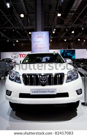 MOSCOW, RUSSIA - AUGUST 25:  White Toyota Land Cruise Prado on display at Moscow International exhibition InterAuto on August 25, 2010 in Moscow, Russia.