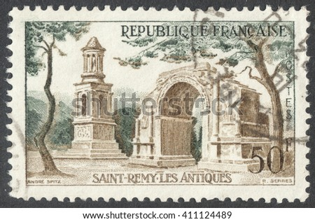 """MOSCOW, RUSSIA - CIRCA APRIL, 2016: a post stamp printed in FRANCE shows the Roman ruins of Saint-Remy-de-Provence, the series """"Landscapes"""", circa 1957 - stock photo"""