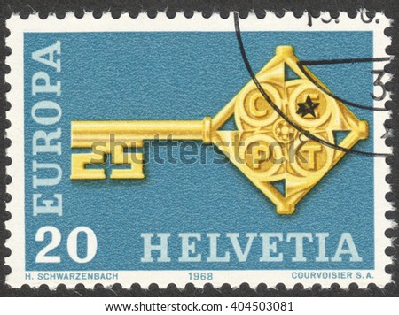 MOSCOW, RUSSIA - CIRCA APRIL, 2016: a post stamp printed in SWITZERLAND shows an emblem of Europa, circa 1968 - stock photo