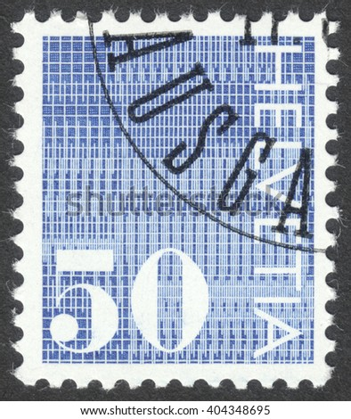 """MOSCOW, RUSSIA - CIRCA APRIL, 2016: a post stamp printed in SWITZERLAND, the series """"Definitive Issues"""", circa 1970 - stock photo"""