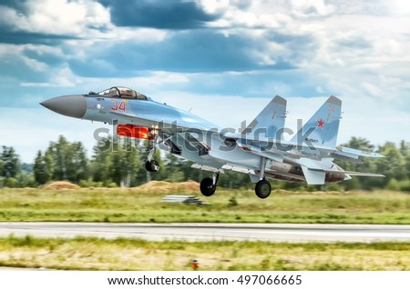 MOSCOW, RUSSIA - CIRCA AUGUST, 2013: Russian Air Force twin jet engine Sukhoi Su-35 Flanker military fighter bomber aircraft warbird plane aerial detail exterior view