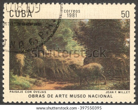 "MOSCOW, RUSSIA - CIRCA FEBRUARY, 2016: a post stamp printed in CUBA shows a painting ""Scenery with sheeps"" by Jean Millet, the series ""The National Museum - Paintings"", circa 1981"