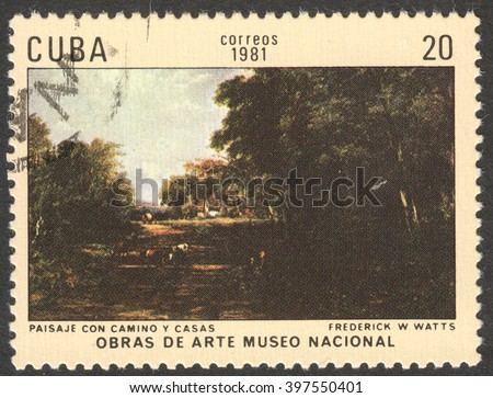 """MOSCOW, RUSSIA - CIRCA FEBRUARY, 2016: a post stamp printed in CUBA shows a painting """"Scenery with a road and houses"""" by Frederick Watts, the series """"The National Museum - Paintings"""", circa 1981 - stock photo"""