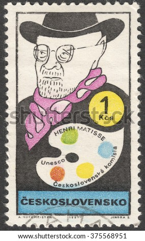"""MOSCOW, RUSSIA - CIRCA FEBRUARY, 2016: a post stamp printed in CZECHOSLOVAKIA shows a portrait of Henri Matisse, the series """"UNESCO - Cultural Personalities of the 20th Cent in Caricature"""", circa 1969 - stock photo"""