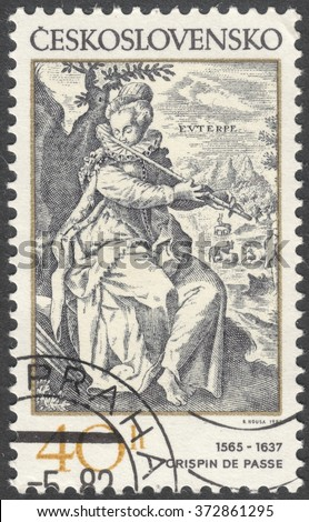 "MOSCOW, RUSSIA - CIRCA FEBRUARY, 2016: a post stamp printed in CZECHOSLOVAKIA shows painting ""Euterpe"" by Crispin de Passe, the series ""Engravings with a Music Theme"", circa 1982"