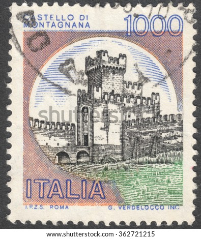 "MOSCOW, RUSSIA - CIRCA JANUARY, 2016: a post stamp printed in ITALY shows a view on a castle Montagnana, the series ""Castles"", circa 1980 - stock photo"