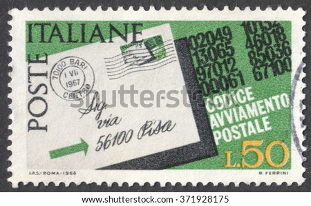 """MOSCOW, RUSSIA - CIRCA JANUARY, 2016: a post stamp printed in ITALY, the series """"Introduction of Postal Codes"""", circa 1968 - stock photo"""