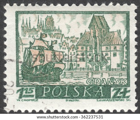 "MOSCOW, RUSSIA - CIRCA JANUARY, 2016: a post stamp printed in POLAND shows a view of Gdansk town, the series ""Historic Polish Towns"", circa 1960"