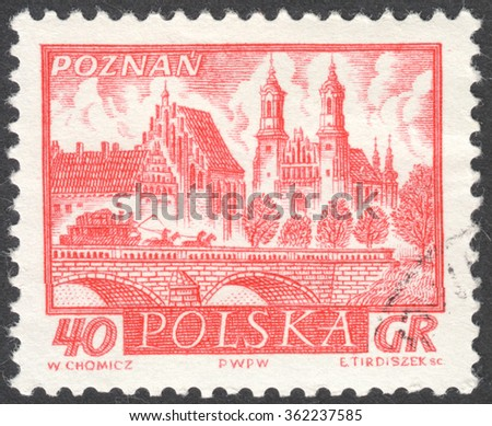 """MOSCOW, RUSSIA - CIRCA JANUARY, 2016: a post stamp printed in POLAND shows a view of Poznan town, the series """"Historic Polish Towns"""", circa 1960 - stock photo"""