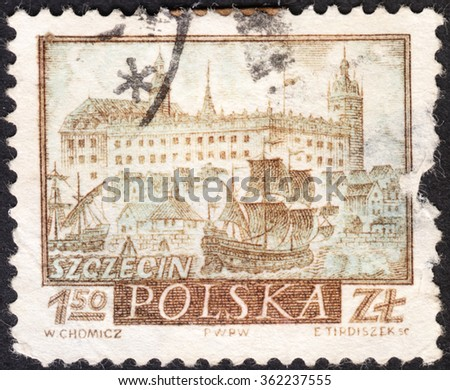 "MOSCOW, RUSSIA - CIRCA JANUARY, 2016: a post stamp printed in POLAND shows a view of Szczecin town, the series ""Historic Polish Towns"", circa 1960"