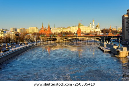 Moscow, Russia - CIRCA JANUARY 2015 - Moscow Kremlin in the winter, Moscow, Russia, circa January 2015.