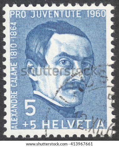 "MOSCOW, RUSSIA - CIRCA MAY, 2016: a post stamp printed in SWITZERLAND  shows a portrait of Alexandre Calame, the series ""Pro Juventute"", circa 1960"