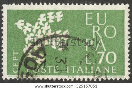 "MOSCOW, RUSSIA - CIRCA NOVEMBER, 2016: a post stamp printed in ITALY shows a dove, the series ""Eurostamps"", circa 1961"