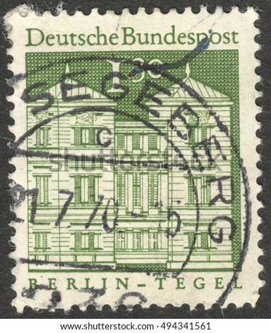 "MOSCOW, RUSSIA - CIRCA OCTOBER, 2016: a stamp printed in GERMANY shows Tegel castle, Berlin, the series ""Building Structures of the 12th Century"", circa 1969"
