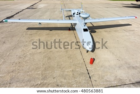 MOSCOW, RUSSIA - CIRCA SEPTEMBER, 2016: Russian Air Force military unmanned air vehicle UAV reconnaissance spy drone Forpost powered by prop engine parked detail exterior wide panoramic front view