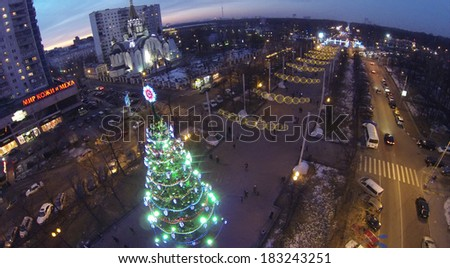 MOSCOW, RUSSIA - DEC 27, 2013: (aerial view) Christmas tree in Sokolniki district. In central squares of Moscow on eve of 2014 established more 20 Christmas trees.