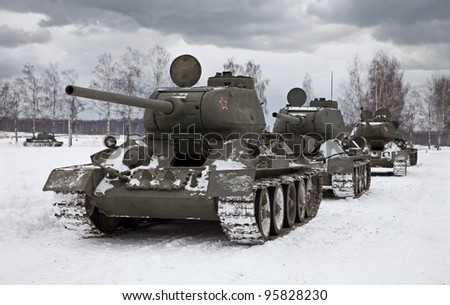 MOSCOW, RUSSIA - DEC 25: Legendary Russian Tank T34 ready to attack an enemy position. Picture taken during a battle re-enactment at the Stalingrad Battle show on Dec 25, 2011 near Moscow