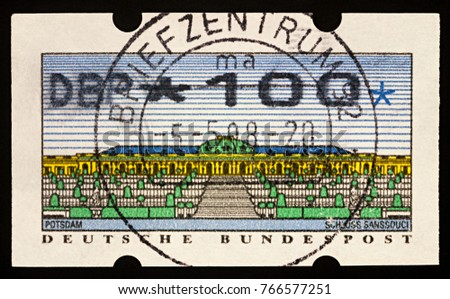 Moscow, Russia - December 01, 2017: A stamp printed in Germany shows Sanssouci - the summer palace of Frederick the Great, King of Prussia, built in 1747, circa 1993