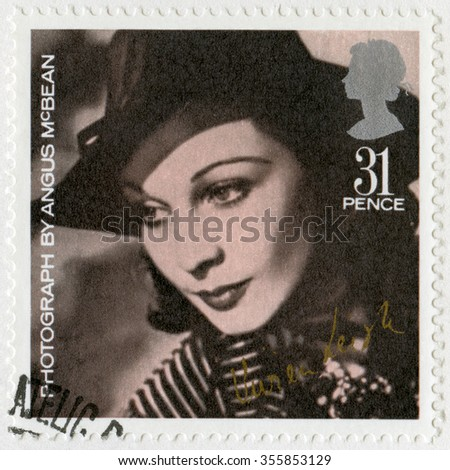 MOSCOW, RUSSIA - DECEMBER 26, 2015: A stamp printed in Great Britain shows Vivian Mary Hartley Leigh (1913-1967), by Angus McBean, series 20th Centenary Stars and Directors of Film, 1985 - stock photo
