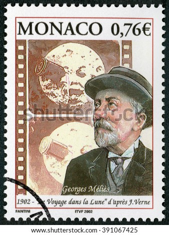 MOSCOW, RUSSIA - DECEMBER 27, 2015: A stamp printed in Monaco shows Marie Georges Jean Melies (1861-1938), filmmaker, A Trip to the Moon (1902), 2002 - stock photo