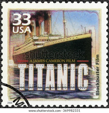 MOSCOW, RUSSIA - DECEMBER 28, 2015: A stamp printed in USA shows Poster for Titanic, 1997, devote blockbuster film, series Celebrate the Century, 1990s, circa 2000 - stock photo